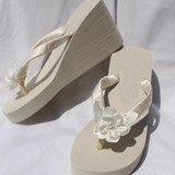 Ivory Wedge Flip Flops Beach Wedding Sandals with Large Satin Flower