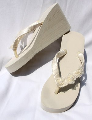 7f1c2b3926e898 Ivory High Wedge Flip Flops Beach Wedding Sandals with Flowers