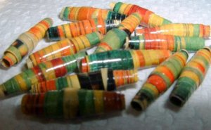 "Serendipity Paper Beads ""Fruit Stripe"""