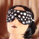 --BLACK COMFORTABLE SOFT SLEEP MASK WITH WHITE DOTS--