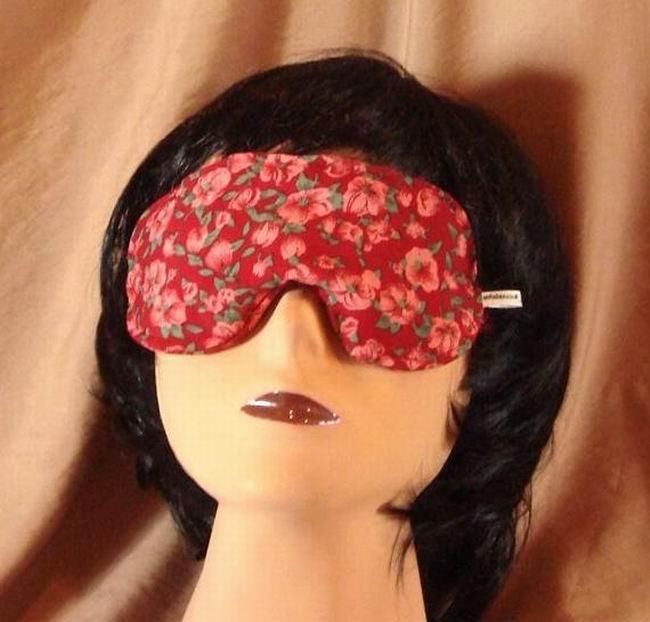 --Soft Padded Eye Sleep Mask Migraine Relief Red Flowers--
