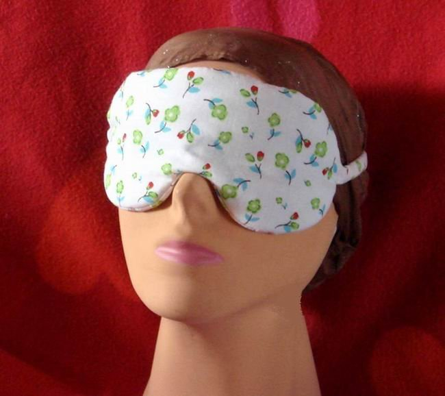 --SOFT LOVELY PADDED WHITE SLEEP MASK WITH SMALL FLOWERS--
