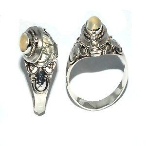 925 Sterling Silver thin Poison Ring with Genuine MoonStone