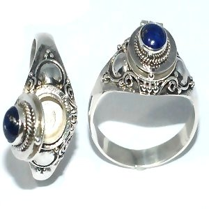 925 Sterling Silver Thin Poison Ring with Genuine Lapis Stone