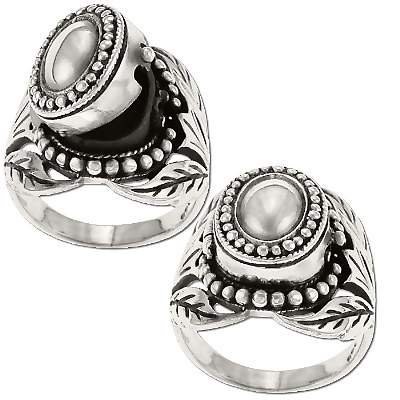 925 Sterling Silver Bali Leaf Design Poison Ring with Marcasite Stone