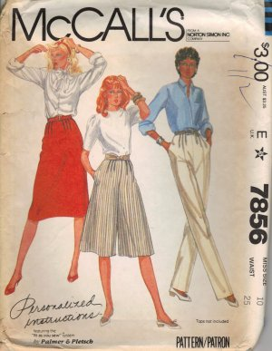 McCall's Sewing Pattern 7856 - Misses' Skirt, Pants, and Culottes (size 10)