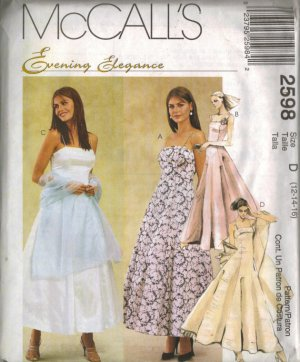 """McCall's """"Evening Elegance"""" Sewing Pattern 2598 - Misses' Lined Dresses, Crinoline, Stole (4-16)"""