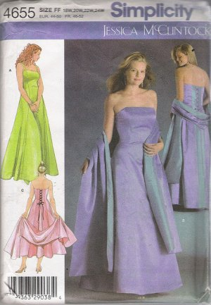 Simplicity Sewing Pattern 4655 - Evening Dress in Two Lengths & Shawl (18w-24w)