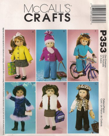 """McCall's Crafts Sewing Pattern P353 (aka 3474) - 18"""" Doll Clothes"""