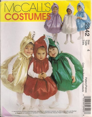 McCall's Costume Sewing Pattern 2342 - Toddler's Hershey's Kisses Costumes (0.5-1, 2-3, 4)