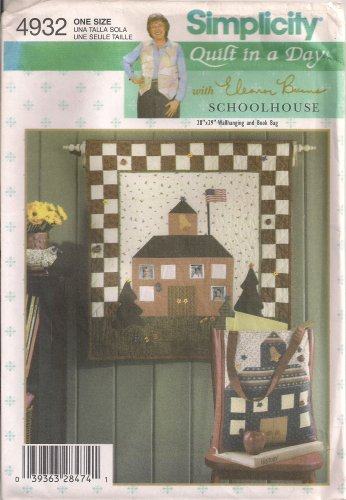 """Simplicity Crafts Sewing Pattern 4932 - """"Quilt In A Day"""" Schoolhouse Wallhanging & Book Bag"""