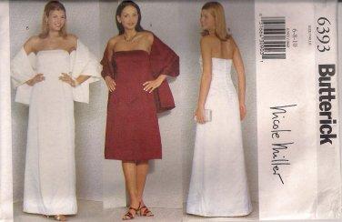 Butterick Sewing Pattern 6393 - Misses'/Miss Petite Dress & Stole