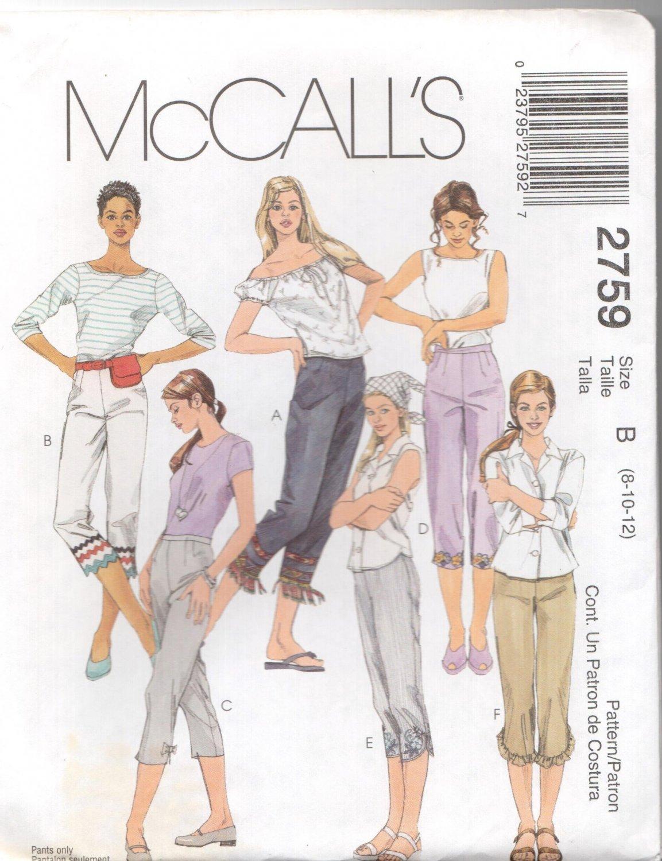 McCall's Sewing Pattern 2759 - Misses' Capri Pants (4-8, 8-12)