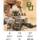 2006 Texas v Baylor Ticket Stub Colt McCoy