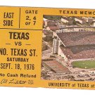 1976 Texas v North Texas Ticket Stub Earl Campbell