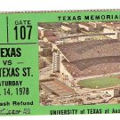1978 Texas v North Texas Ticket Stub