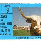 1981 Texas v North Texas Ticket Stub