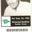 1992 Texas v North Texas Ticket Stub