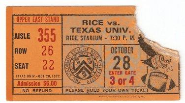 1972 Texas v Rice Ticket Stub