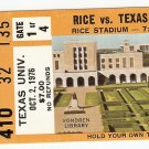 1976 Texas v Rice Ticket Stub Earl Campbell