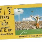 1981 Texas v Rice Ticket Stub