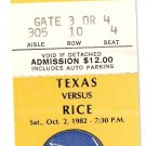 1982 Texas v Rice Ticket Stub