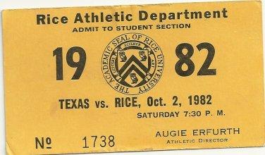 1982 Texas v Rice Ticket Stub