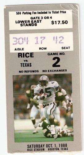 1988 Texas v Rice Ticket Stub