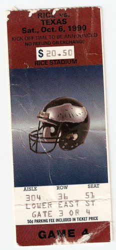 1990 Texas v Rice Ticket Stub