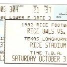 1992 Texas v Rice Ticket Stub