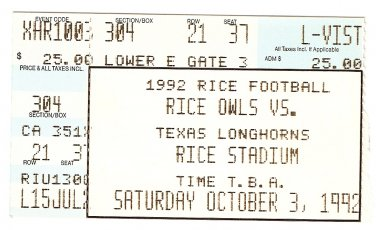1992 Texas v Rice Ticket Stub