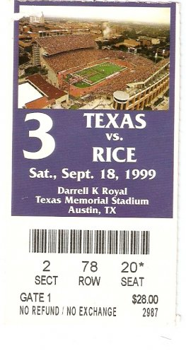 1999 Texas v Rice Ticket Stub