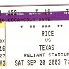 2003 Texas v Rice Ticket Stub Vince Young