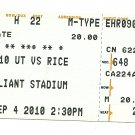 2010 Texas v Rice Ticket Stub