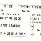 2010 Texas v Rice Ticket Stub