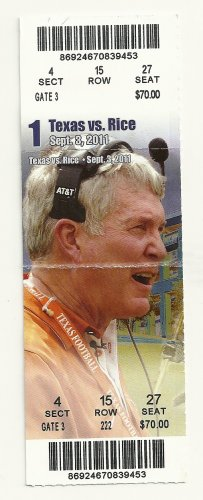 2011 Texas v Rice Ticket Stub