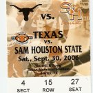2006 Texas v Sam Houston State Ticket Stub Colt McCoy