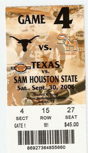 2006 Texas v Sam Houston State Ticket Stub Colt McCoy