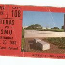 1982 Texas v SMU Ticket Stub Eric Dickerson & CraigJames