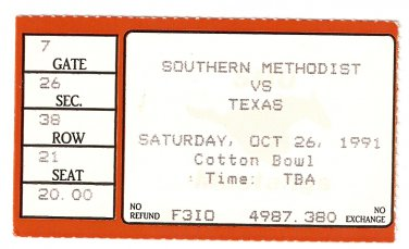 1991 Texas v SMU Ticket Stub