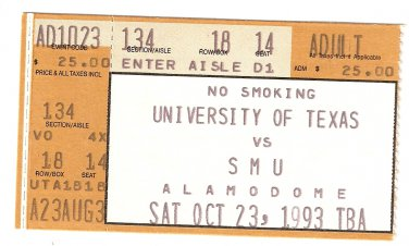 1993 Texas v SMU Ticket Stub