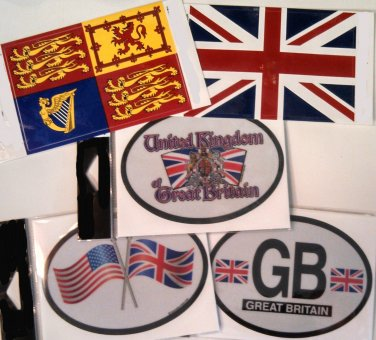 Great Britain/United Kingdom Stickers - Set of Five (Free Shipping)