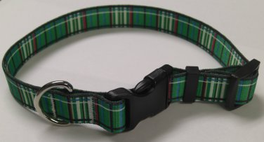 Dog Collar - Green Tartan - size Small