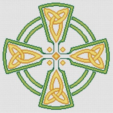 Celtic Cross Green/Gold Counted Cross Stitch Chart