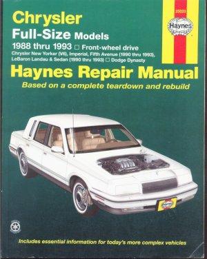 Chrysler Full Size Models 1988 thru 1993 Front Wheel Drive Haynes Repair Manual