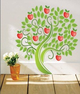 Reusable wall decals and vinyl wall art apple tree hl1521 for Apple tree mural