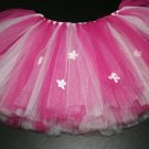 'MAGENTA with MINI FLOWERS and RHINESTONES' toddler girls tutu