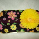 Custom Baby Wipes TRAVEL Case | CUTE FLOWERS w BUTTON FLOWER