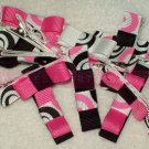 HOT PINK and BLACK tuxedo bows   clippie
