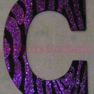 GLITTER ZEBRA STRIPES - single wooden letter